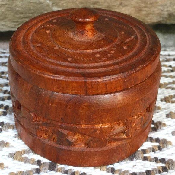 VTG Wood Box India Jewelry Bohemian Trinket